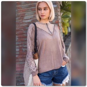 Stone Wash Long Sleeve Top w/Lace Panel & Zipper
